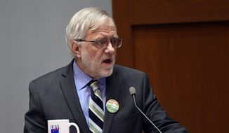 Green Party gubernatorial candidate Howie Hawkins, takes part in a gubernatorial debate sponsored by the League of Women Voters at The College of Saint Rose Thursday, Nov. 1, 2018, in Albany, N.Y. (AP Photo/Hans Pennink)