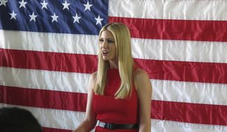 Ivanka Trump, President Trump's daughter and advisor, speaks during an appearance with Nevada Republican Sen. Dean Heller at the GOP field office in Reno, Nev., Thursday, Nov. 1, 2018. Ivanka Trump praised Heller for his role in passing the tax bill and the doubling of the child tax credit that came with it. She says she's confident he'll win his battle for re-election against Democratic Rep. Jacky Rosen. (AP Photo/Scott Sonner)