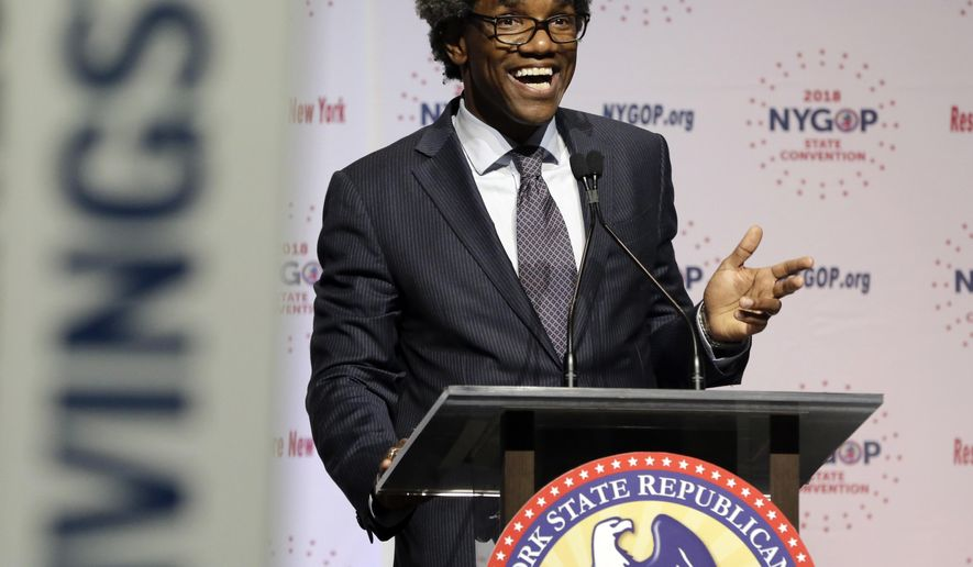 In this May 24, 2018 file photo, presumptive Republican candidate for attorney general Keith Wofford delivers remarks at the New York state Republican Convention in New York. Wofford, a New York City lawyer and political newcomer, is running for Attorney General against Democrat Letitia James in the 2018 mid-term elections on Tuesday, Nov. 6, 2018. (AP Photo/Richard Drew, File)