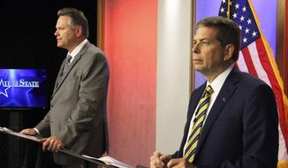 FILE - This Thursday, Oct. 25, 2018 file photo shows Alaska gubernatorial candidates Mike Dunleavy, left, a Republican, and Democrat Mark Begich, right, prior to a debate in Anchorage, Alaska. The two major candidates for governor in Alaska are facing off one more time before next week's general election. Begich and Dunleavy are expected to participate in a broadcast debate sponsored by Anchorage TV station KTVA Thursday evening, Nov. 1, 2018. Both are vying to succeed Gov. Bill Walker. (AP Photo/Mark Thiessen, File)