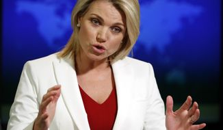 """FILE - In this Aug. 9, 2017, file photo, State Department spokeswoman Heather Nauert speaks during a briefing at the State Department in Washington. President Donald Trump says Nauert is """"under very serious consideration"""" to be the next U.S. ambassador to the United Nations. Trump says he will """"probably"""" make a decision on the nomination next week. (AP Photo/Alex Brandon)"""