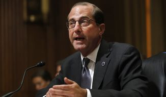 In this June 26, 2018, file photo, Health and Human Services Secretary Alex Azar speaks on Capitol Hill in Washington. A DEA report obtained by The Associated Press shows heroin, fentanyl and other opioids continue to be the highest drug threat in the nation. The National Drug Threat Assessment will be released publicly later Friday.  Azar said earlier this month that overdose deaths have now begun to level off. But he cautioned it is too soon to declare victory. (AP Photo/Jacquelyn Martin)