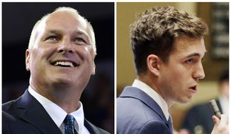 This combination of file photos shows candidates for Minnesota's 8th District Congressional seat in the November 2018 eletion from left, incumbent GOP Rep. Pete Stauber and Democrat Joe Radinovich. (AP Photo/File)