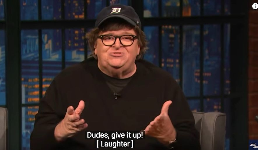 """Director Michael Moore discusses """"angry white men"""" with comedian Seth Meyers, Nov. 1, 2018. (Image: YouTube, """"Late Night with Seth Meyers"""" screenshot) ** FILE **"""