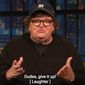 "Director Michael Moore discusses ""angry white men"" with comedian Seth Meyers, Nov. 1, 2018. (Image: YouTube, ""Late Night with Seth Meyers"" screenshot) ** FILE **"