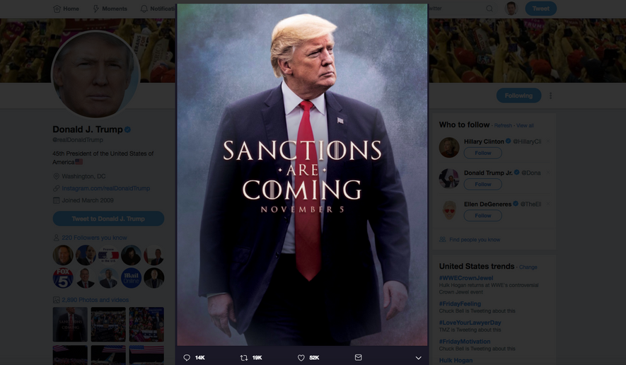 "President Trump's tweet invoking ""Game of Thrones"" (screenshot)"