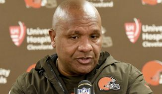 """FILE - In this Sunday, Oct. 28, 2018, file photo, Cleveland Browns coach Hue Jackson meets with reporters after an NFL football game against the Pittsburgh Steelers in Pittsburgh. Jackson, who was fired this week, disputes owner Jimmy Haslam's assertion there was """"internal discord"""" on the team's coaching staff. (AP Photo/Gene J. Puskar, File)"""