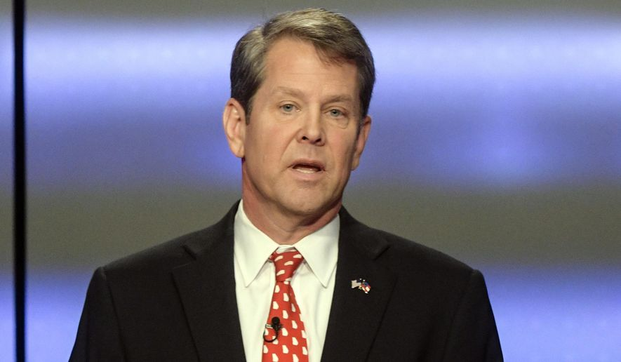 In this May 20, 2018, file photo, Georgia Republican gubernatorial candidate Brian Kemp participates in a debate in Atlanta. (Associated Press)