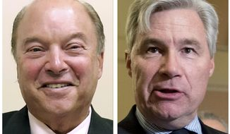 This combination of photos shows Republican Bob Flanders, left, on Oct. 9, 2018, in Warwick, R.I., and Democrat Sen. Sheldon Whitehouse, right, on Oct. 17, 2017, in Washington. Flanders is challenging Whitehouse in the Nov. 6, 2018 general election (AP Photos)