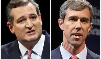 FILE - This combination of Sept. 21, 2018, file photos show Republican U.S. Sen. Ted Cruz, left, and Democratic U.S. Rep. Beto O'Rourke, right, during their first Senate debate in Dallas. The anniversary of the deadliest church shooting in the nation's history _ when a gunman killed 25 people in a rural church near San Antonio _ is the day before the Texas Senate election between Republican incumbent Ted Cruz and rising Democratic star Beto O'Rourke. But you wouldn't know it spending time with either campaign. That massacre in Sutherland Springs, and another Texas mass shooting at Santa Fe High School near Houston about six months later, aren't the race's top issues. (Tom Fox/The Dallas Morning News via AP, Pool, File)