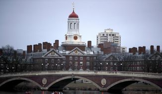 In this March 7, 2017, file photo, rowers paddle down the Charles River past the campus of Harvard University in Cambridge, Mass. (AP Photo/Charles Krupa, File)