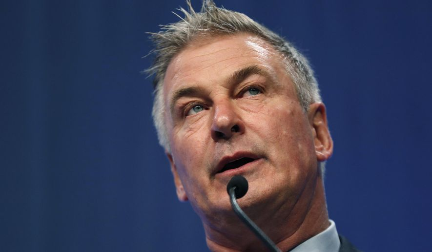 In this Nov. 27, 2017, file photo, actor Alec Baldwin speaks during the Iowa Democratic Party's Fall Gala in Des Moines, Iowa. (Associated Press) **FILE**