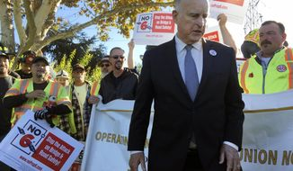 Gov. Jerry Brown joins a rally on behalf of a campaign against a repeal of the gas tax on Friday Nov. 2, 2018 in Palo Alto, Calif. Proposition 6, which would repeal an increase in gas tax and vehicle fees for transportation projects in California. (AP Photo/Janie Har)