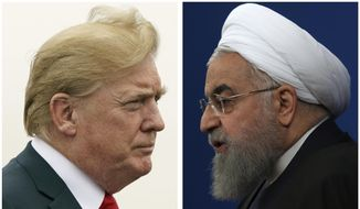 This combination of two pictures shows U.S. President Donald Trump, left, on July 22, 2018, and Iranian President Hassan Rouhani on Feb. 6, 2018.  The Trump administration is announcing the reimposition of all U.S. sanctions on Iran that had been lifted under the 2015 nuclear deal.  The Trump administration is announcing the reimposition of all U.S. sanctions on Iran that had been lifted under the 2015 nuclear deal. (AP Photo)