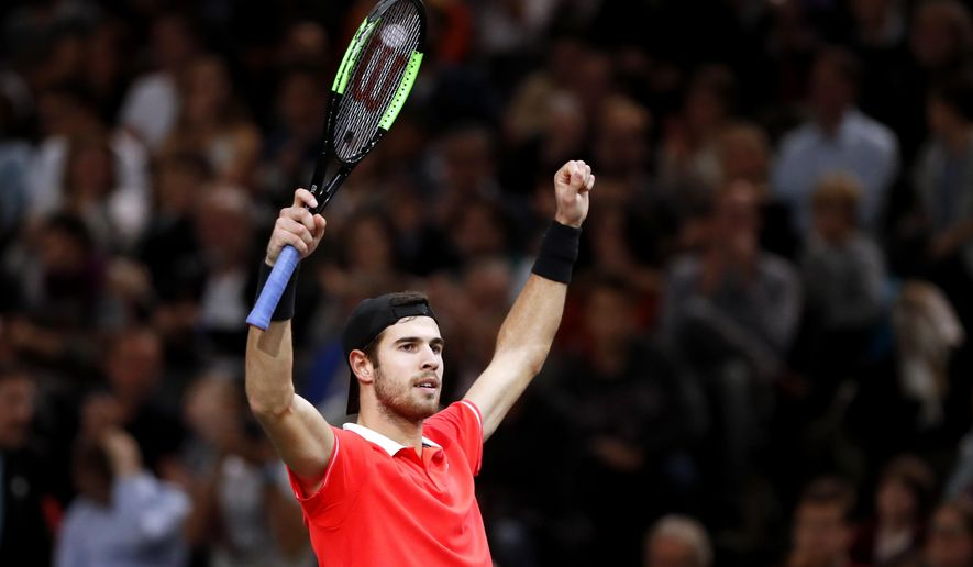 Karen Khachanov of Russia celebrates after defeating Dominic Thiem of Austria during their semifinal match of the Paris Masters tennis tournament at the Bercy Arena in Paris, France, Saturday, Nov. 3, 2018. (AP Photo/Thibault Camus)