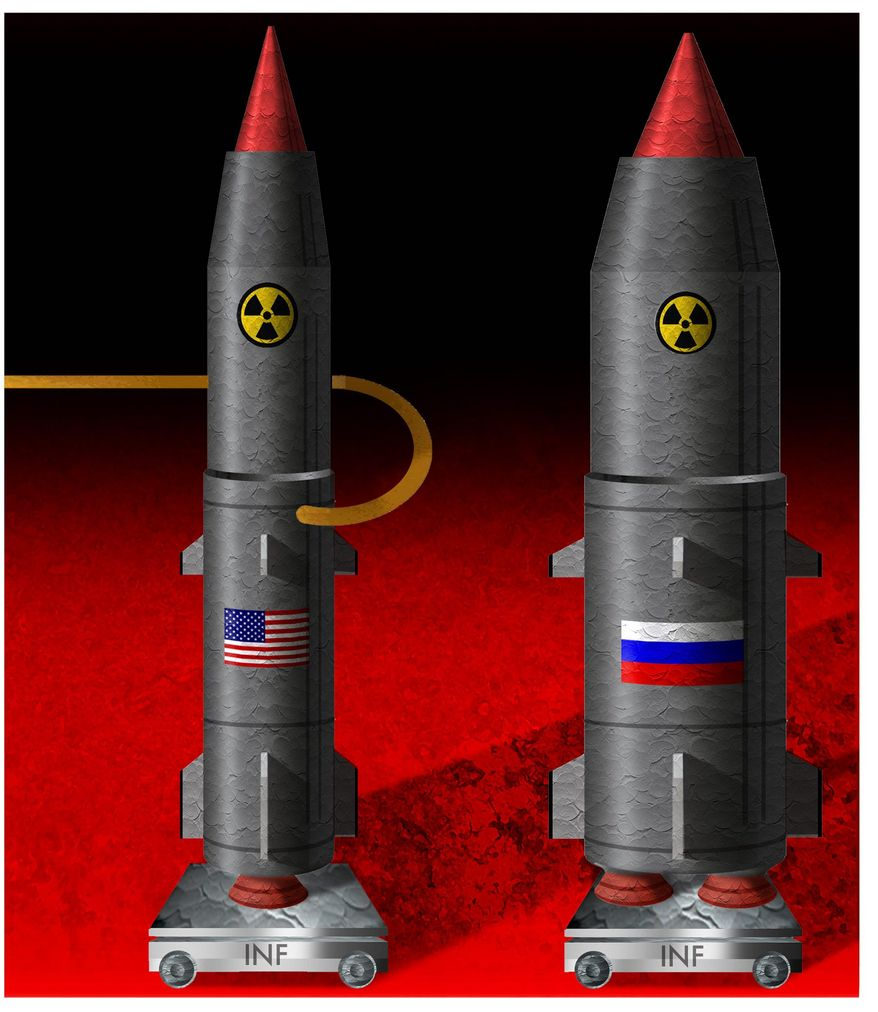 Illustration on the U.S. withdrawal from the INF treaty by Alexander Hunter/The Washington Times