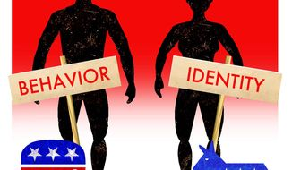 Illustration on another difference between Republicans and Democrats by Alexander Hunter/The Washington Times