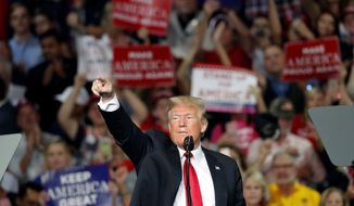 President Donald Trump gestures as he speaks during a rally for Georgia Republican gubernatorial candidate Brian Kemp Sunday, Nov. 4, 2018, in Macon, Ga. (AP Photo/John Bazemore)