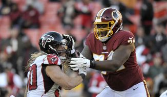 Atlanta Falcons defensive end Brooks Reed (50) rushes against Washington Redskins offensive tackle Geron Christian (74) during an NFL football game between the Atlanta Falcons and Washington Redskins, Sunday, Nov. 4, 2018, in Landover, Md. (AP Photo/Mark Tenally) **FILE**