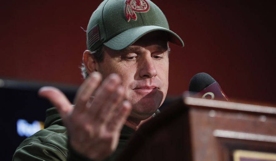 Washington Redskins head coach Jay Gruden reacts to a question during a press conference after an NFL football game between the Atlanta Falcons and the Washington Redskins, Sunday, Nov. 4, 2018 in Landover, Md. The Falcons defeated the Redskins 38-14. (AP Photo/Pablo Martinez Monsivais)