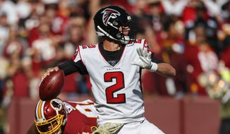Atlanta Falcons quarterback Matt Ryan (2) throws the ball during the first half of an NFL football game between the Atlanta Falcons and the Washington Redskins, Sunday, Nov. 4, 2018 in Landover, Md. (AP Photo/Pablo Martinez Monsivais) **FILE**