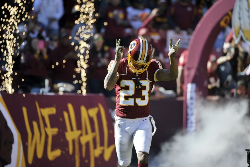 Washington Redskins cornerback Quinton Dunbar runs onto the field prior to an NFL football game against the Atlanta Falcons, Sunday, Nov. 4, 2018, in Landover, Md. (AP Photo/Mark Tenally) ** FILE **