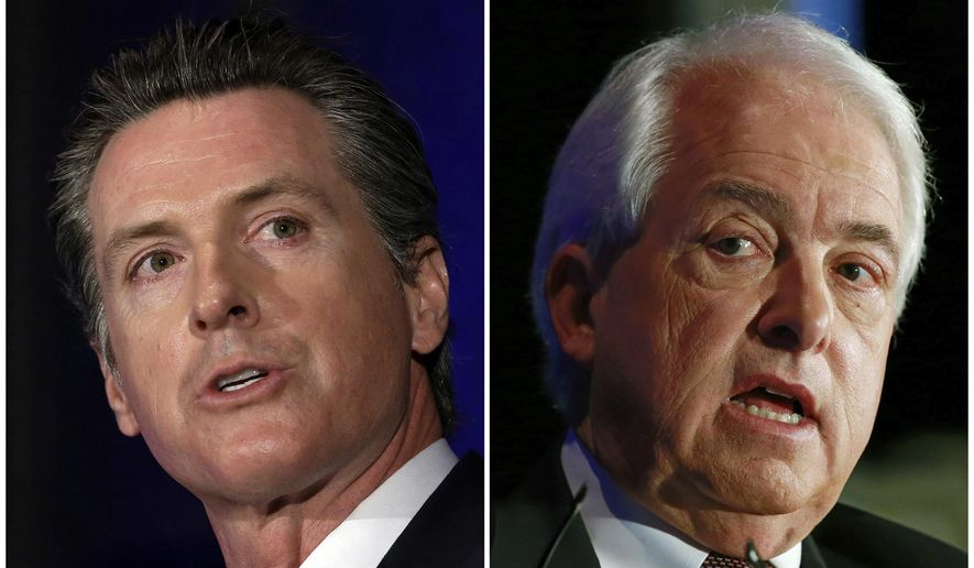 FILE - This combination of March 8, 2018 file photos shows California gubernatorial candidates, Lt. Gov. Gavin Newsom, left, a Democrat and John Cox, a Republican, in Sacramento, Calif. The candidates oppose each other on a variety of issues including health care, immigration and gasoline taxes. (AP Photos/Rich Pedroncelli, file)