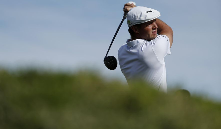 Bryson DeChambeau hits off the first tee during the final round of the Shriners Hospitals for Children Open golf tournament Sunday, Nov. 4, 2018, in Las Vegas. (AP Photo/John Locher)