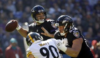 Baltimore Ravens quarterback Joe Flacco, center, throws to a receiver as Ravens tight end Nick Boyle, front right, keeps Pittsburgh Steelers outside linebacker T.J. Watt away in the first half of an NFL football game, Sunday, Nov. 4, 2018, in Baltimore. (AP Photo/Patrick Semansky)