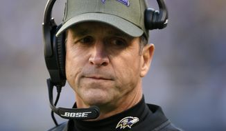 Baltimore Ravens head coach John Harbaugh stands on the sideline in the second half of an NFL football game against the Pittsburgh Steelers, Sunday, Nov. 4, 2018, in Baltimore. (AP Photo/Nick Wass)