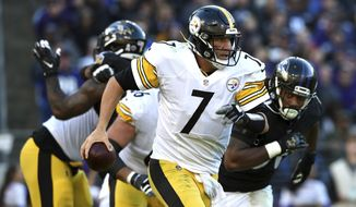 Pittsburgh Steelers quarterback Ben Roethlisberger looks for a receiver in the second half of an NFL football game against the Baltimore Ravens, Sunday, Nov. 4, 2018, in Baltimore. (AP Photo/Gail Burton)