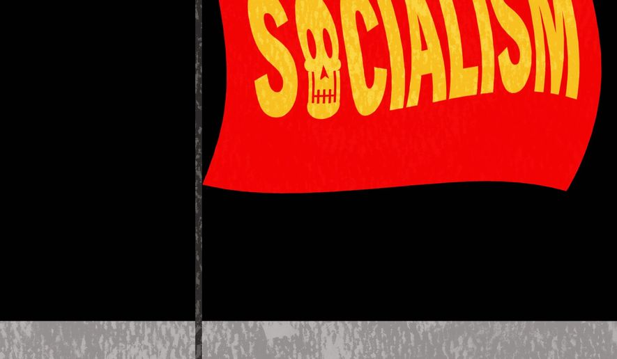 Illustration on the historical record of Socialism by Alexander Hunter/The Washington Times