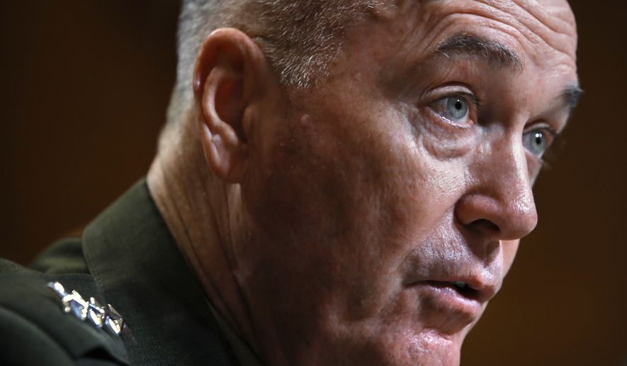 Joint Chiefs Chairman Gen. Joseph Dunford speaks during a Senate Appropriations subcommittee hearing on the FY19 budget, Wednesday, May 9, 2018, on Capitol Hill in Washington. (AP Photo/Jacquelyn Martin)