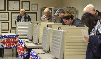 Voters packed the Vigo County Annex in Terre Haute, Ind., on Monday, Nov. 5, 2018, during the final day of early voting. (Austen Leake/Tribune-Star via AP) ** FILE **