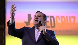 Sen. Ted Cruz, R-Texas, during a campaign event Monday, Nov. 5, 2018, in Cypress, Texas. Cruz is running against Democratic U.S. Representative Beto O'Rourke. (AP Photo/David J. Phillip)