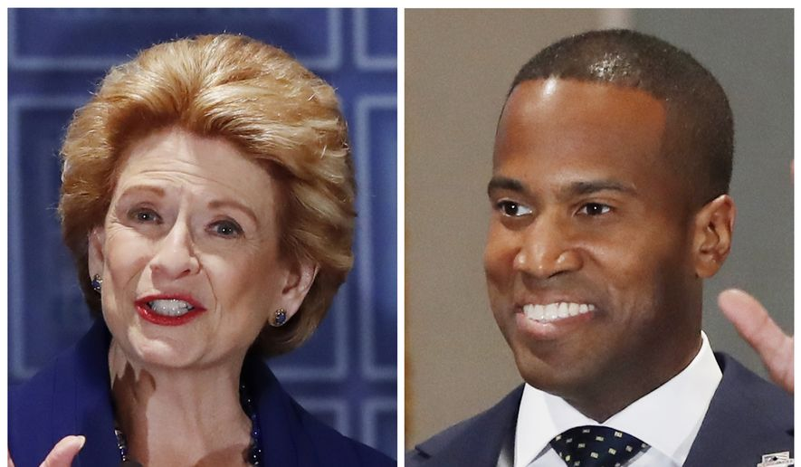 This combination of Oct. 15, 2018, file photos shows Michigan U.S. Senate candidates in the November 2018 election from left, incumbent Democratic Sen. Debbie Stabenow and Republican John James. (AP Photo/Carlos Osorio, File)