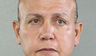 FILE - This Aug. 30, 2015, file photo released by the Broward County Sheriff's office shows Cesar Sayoc in Miami. Pipe bomb suspect Sayoc is making his first court appearance in New York on Tuesday, Nov. 6, 2018. (Broward County Sheriff's Office via AP, File)