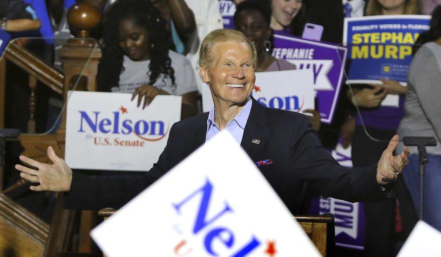 In this Oct. 23, 2018, file photo shows Sen. Bill Nelson campaigns in Orlando. (Joe Burbank/Orlando Sentinel via AP, File)