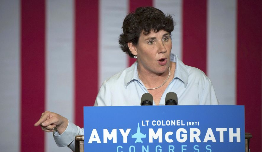 In this Oct. 12, 2018, photo, Democratic congressional candidate Amy McGrath speaks during a campaign event in Owingsville, Ky. (Associated Press) **FILE**