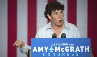 In this Oct. 12, 2018 photo, Democratic congressional candidate Amy McGrath speaks during a campaign event in Owingsville, Ky. (Associated Press) **FILE**