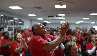 Culinary Union members cheer as they rally in support of Rep. Jacky Rosen, D-Nev., and other Democratic candidates at the culinary union hall Monday, Nov. 5, 2018, in Las Vegas. (AP Photo/John Locher)