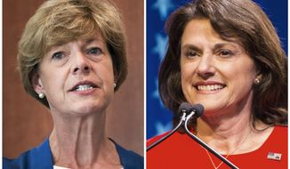 FILE - This combination of file photos shows Wisconsin U.S. Senate candidates in the November election from left, Democratic incumbent Sen. Tammy Baldwin and Republican Leah Vukmir. (Janesville Gazette/Milwaukee Journal-Sentinel via AP, File)