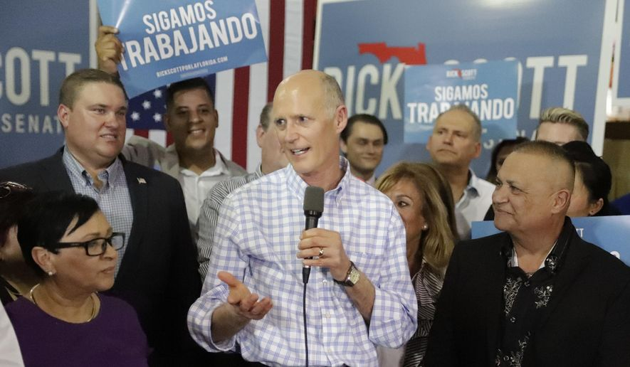 In this Sept. 18, 2018, file photo Florida Gov. Rick Scott, center, speaks at a campaign rally in Orlando, Fla. Scott is challenging three-term Democratic Sen. Bill Nelson. Florida will vote for governor, U.S. Senate, Cabinet seats, Congress and decide 12 ballot questions. (AP Photo/John Raoux, File)