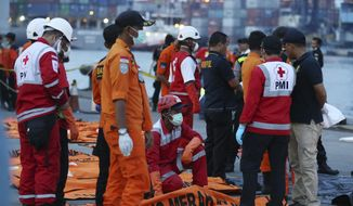 Officals examine victims recovered from the Lion Air jet that crashed into the Java Sea on Monday at Tanjung Priok Port in Jakarta, Indonesia, , Sunday, Nov. 4, 2018. The brand new Boeing 737 MAX 8 jet plunged into the Java Sea just minutes after takeoff from Jakarta early on Oct. 29, killing all of its passengers on board. (AP Photo/Achmad Ibrahim)