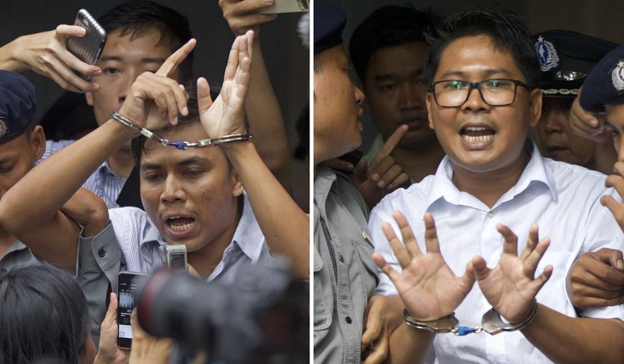 In this combination image made from two photos, Reuters journalists Kyaw Soe Oo, left, and Wa Lone, are handcuffed as they are escorted by police out of the court Monday, Sept. 3, 2018, in Yangon, Myanmar. Lawyers for the two Reuters journalists imprisoned in Myanmar have appealed the verdict that sent them to prison for seven years for illegal possession of official documents. (AP Photo/Thein Zaw)