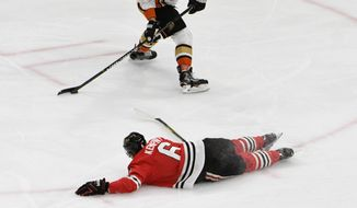 Chicago Blackhawks defenseman Michal Kempny (6) defends against Anaheim Ducks defenseman Brandon Montour (26) during the first period of an NHL hockey game Thursday, Feb. 15, 2018, in Chicago. (AP Photo/David Banks)