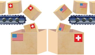 U.S.-Swiss Trade Illustration by Greg Groesch/The Washington Times
