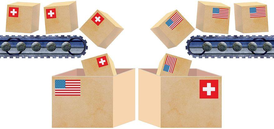 U.S.-Swiss Trade Illustration by Greg Groesch/The Washington Times