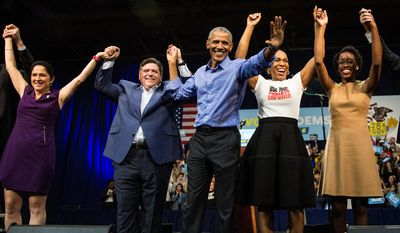 In Illinois, Democrat J.B. Pritzker (left) won against Republican incumbent Gov. Bruce Rauner. Former President Barack Obama campaigned on behalf of Mr. Pritzker. He easily defeated Mr. Rauner, who got locked in a budget stalemate with Democrats. (Associated Press)