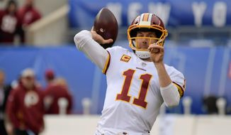 Washington Redskins quarterback Alex Smith faces a Tampa Bay Buccaneers on Sunday with a patch-work offensive line and watered-down offensive weapons. (ASSOCIATED PRESS)